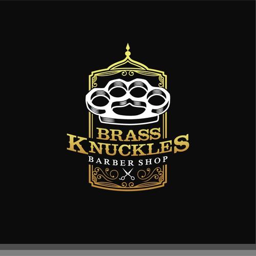"""Logo for """"Brass Nuckles Barbershop""""."""