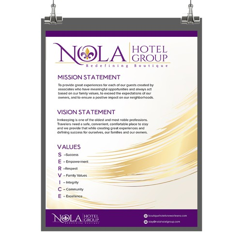 Poster for Nola Hotel Group