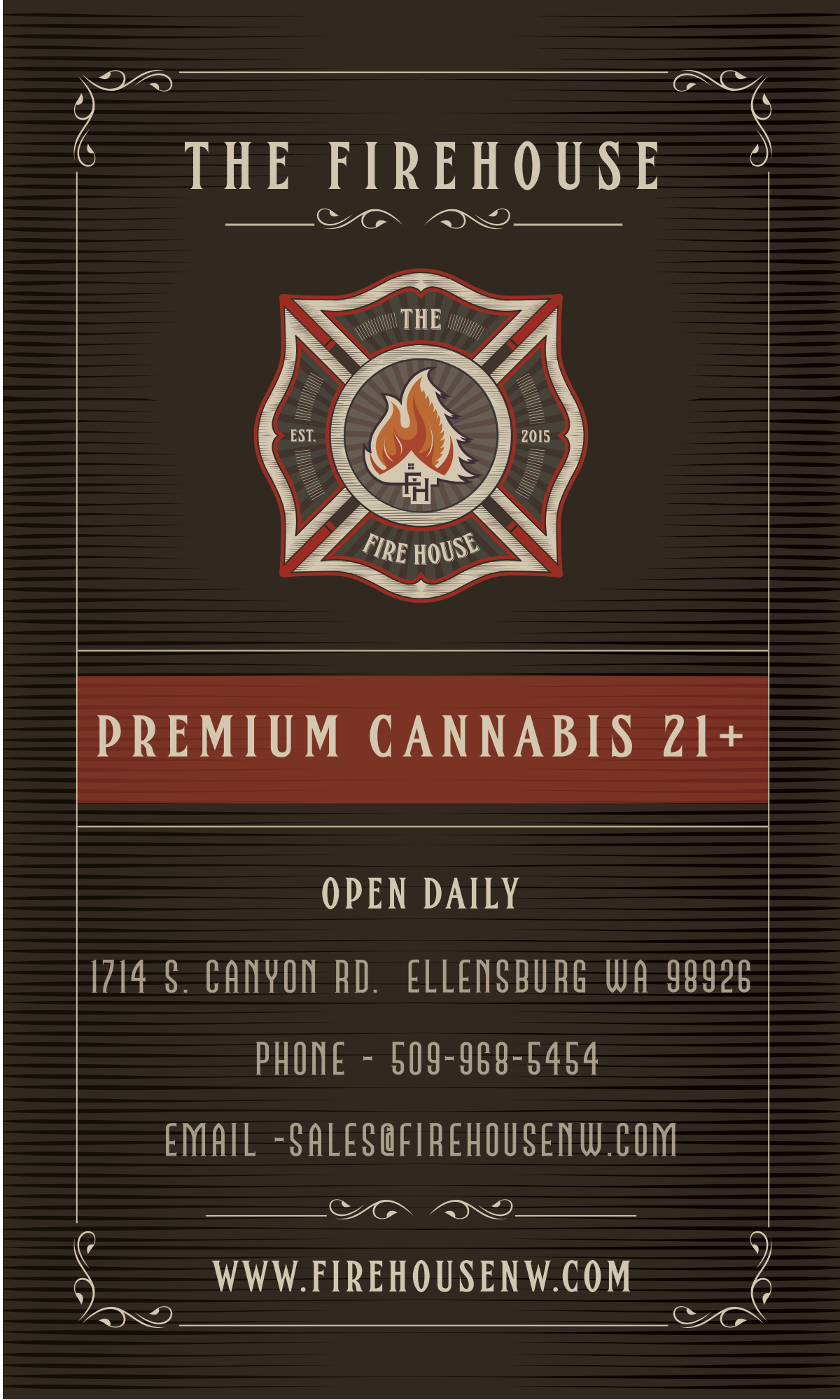 """Advertisement card for """"THE FIREHOUSE"""""""