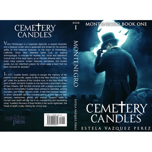 Create an alluring book cover for future bestseller Cemetery Candles