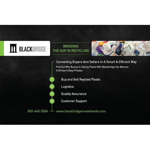 Create an eye catching ad for forward thinking recycling company, BlackBridge Investments