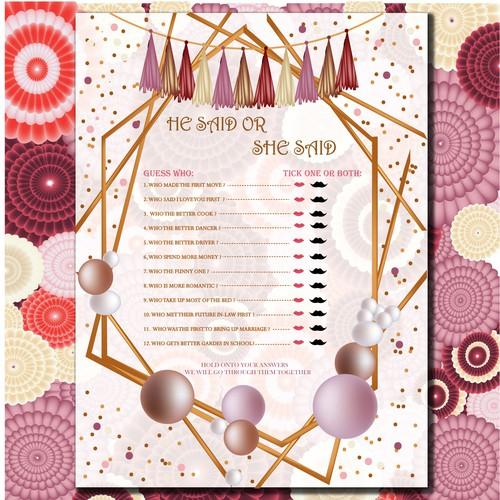 Bridal shower game card