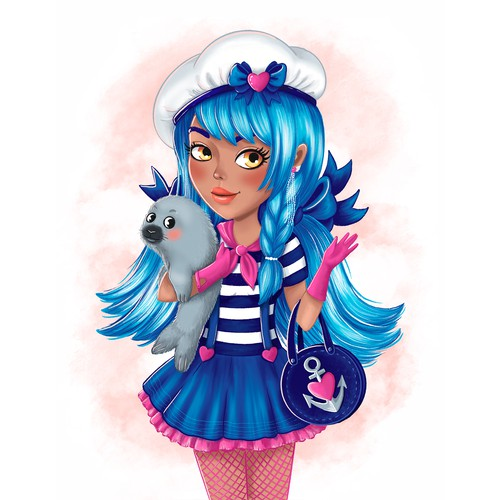 Marine theme fashion girl character illustration