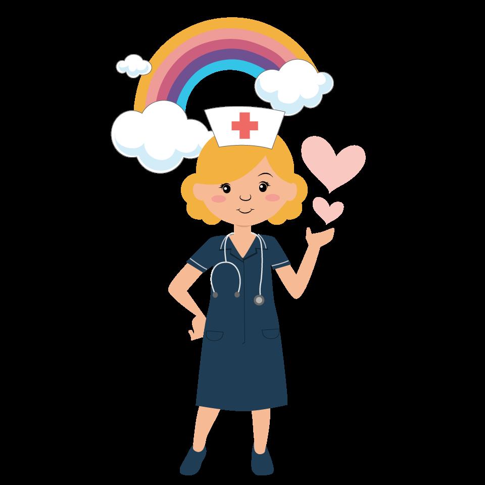 Simple illustration, quick turnaround needed please Nurse Medical Rainbow Heart Design