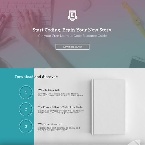Landing page design for Top Code School