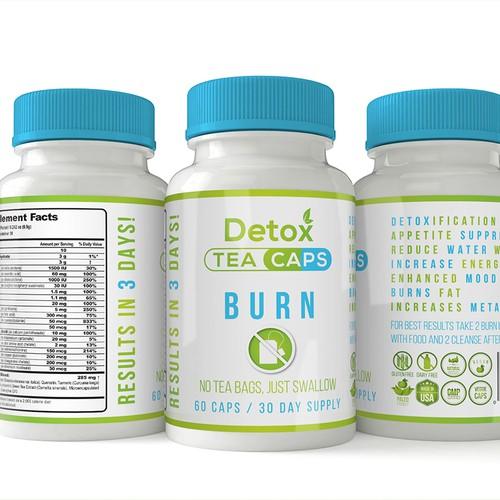 Detox Tea Caps Logo & Label