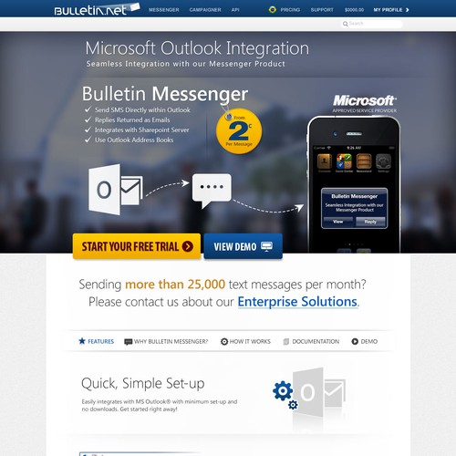 Design a new page for Bulletin Messenger for Outlook