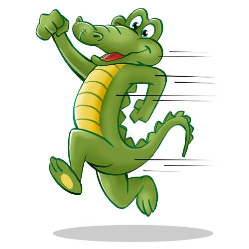 Friendly Running Alligator Cartoon Mascot
