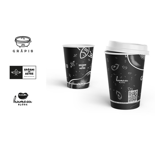 Food chain logos and coffee cup design