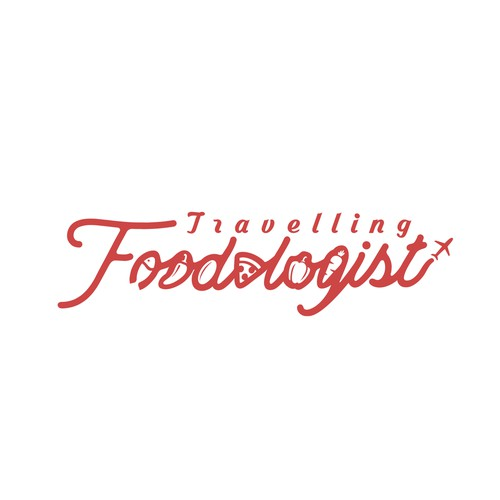 The combined concept of food and script in typography style for Travelling Foodologist logo