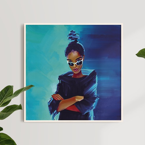 African American Woman Painting Artwork