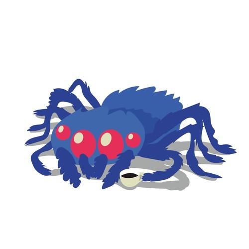 Fluffy spider mascot for web development company