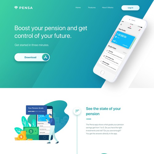 Landing page for personal financial mobile app
