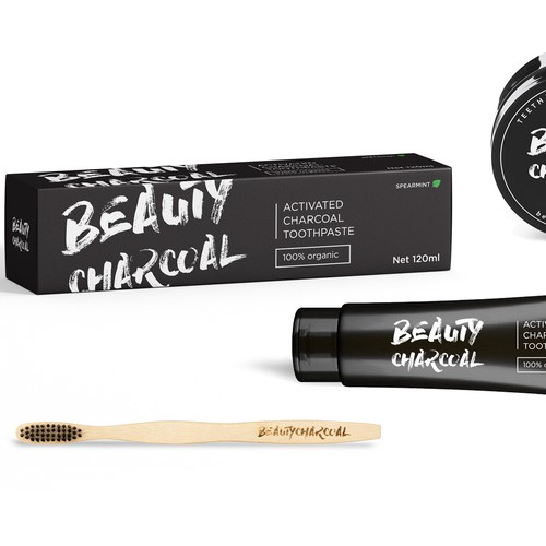 Design A Simple Label & Package for Charcoal Toothpaste