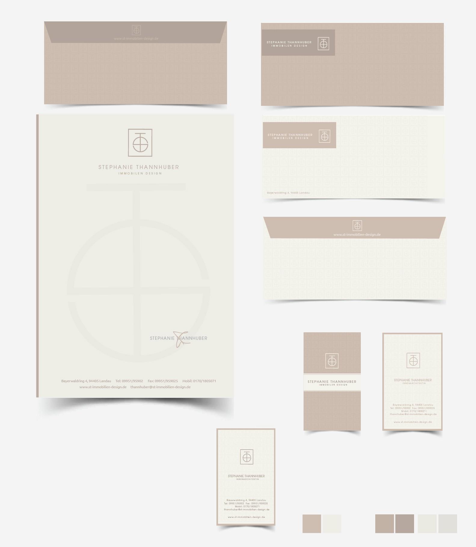 Visitenkarte, Briefpapier, Briefumschlag für eine Innenarchitektin