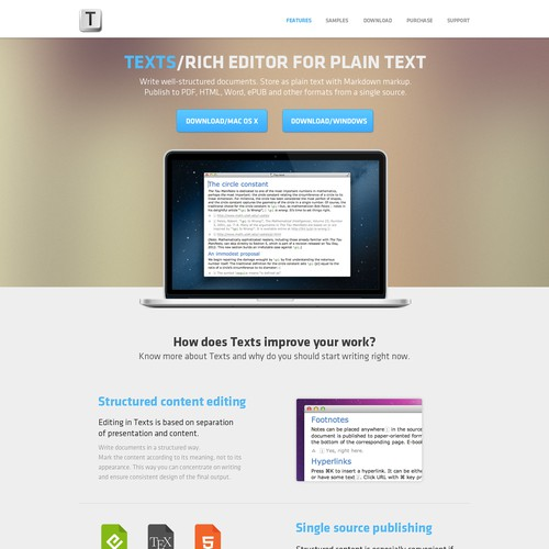 Website for a Text editor software