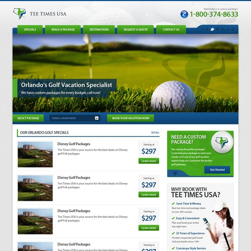 Create a winning PPC landing page for Tee Times USA