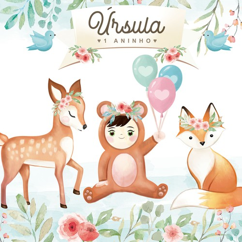 Cute watercolor illustration for children's animal theme party
