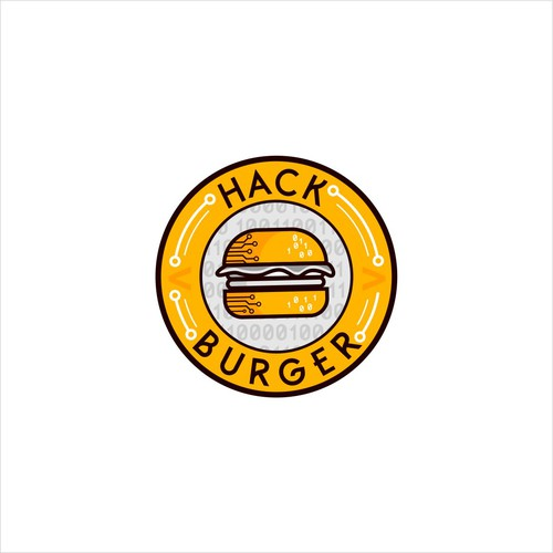 Logo with some tech flavor for a gourmet burger restaurant
