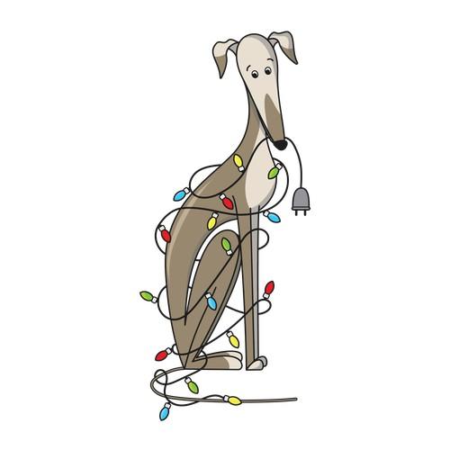 Christmas illustration with a dog