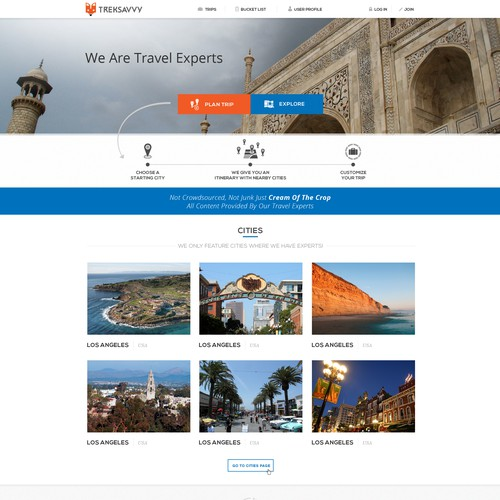 Website for travel startup