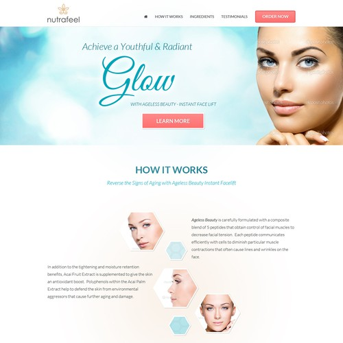 Landing page for an Instant Lift Beauty product page