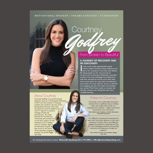 One side flyer for Courtney Godfrey, a motivational speaker and TV reporter.and