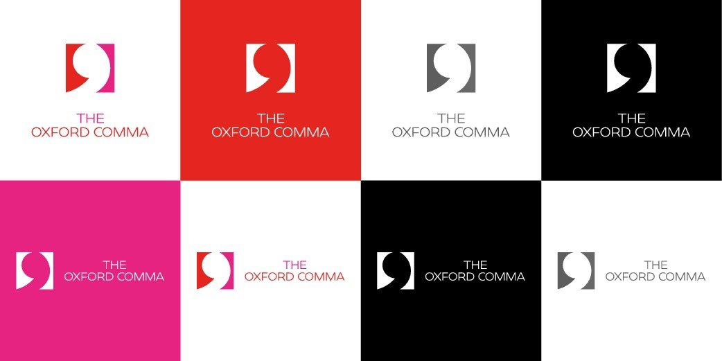 Show me a design for a simple, clear brand aligned with 'The Oxford Comma'