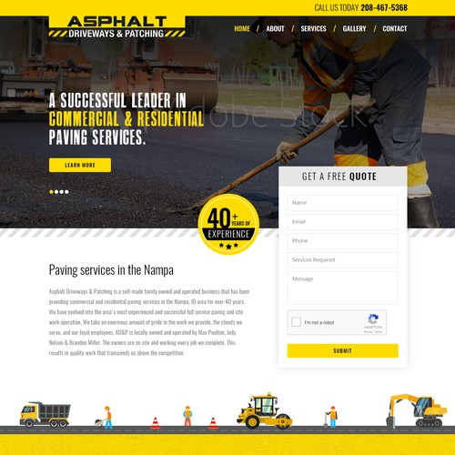 Website design for Commercial & Residential Paving Company