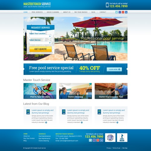Responsive Website Needed for New Pool & House Cleaning Service