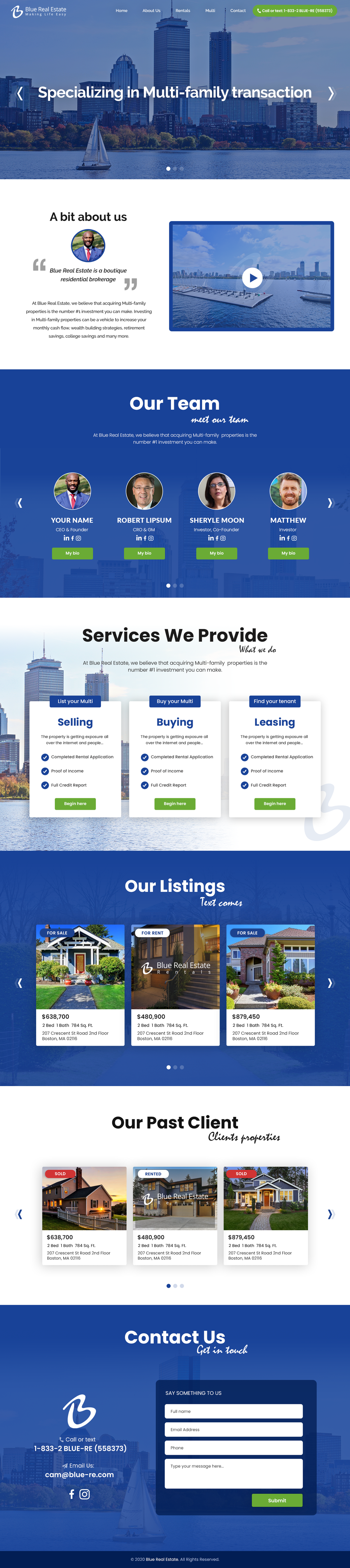Blue Real Estate wordpress Main page.