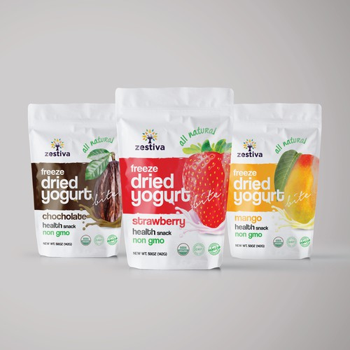 Design a Freeze Dried Strawberry Yogurt Bites for an organic food supplier