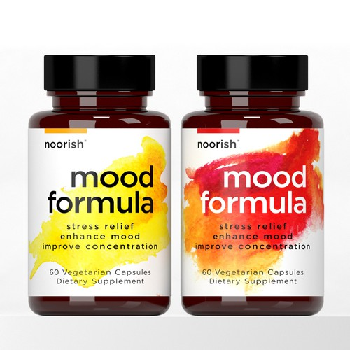 CLEAN SUPPLEMENT DESIGN for bottle label – Noorish: Mood Formula