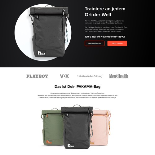 Landing Page design for Pakama Backpacks
