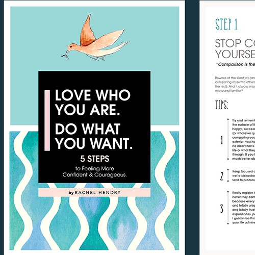 Pdf document with single page cover for my downloadable confidence + courage guide