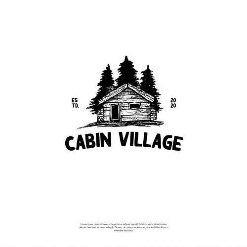 Hand drawn cabin village