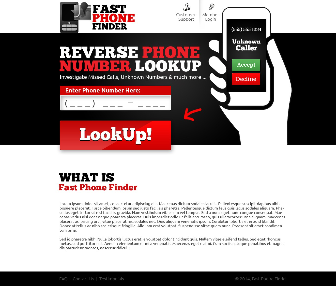 ATTENTION: Design a Landing Page for Reverse Phone Lookup Website