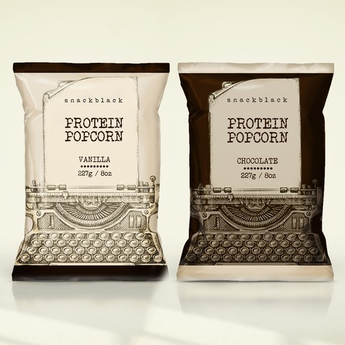 Packaging design for protein popcorn
