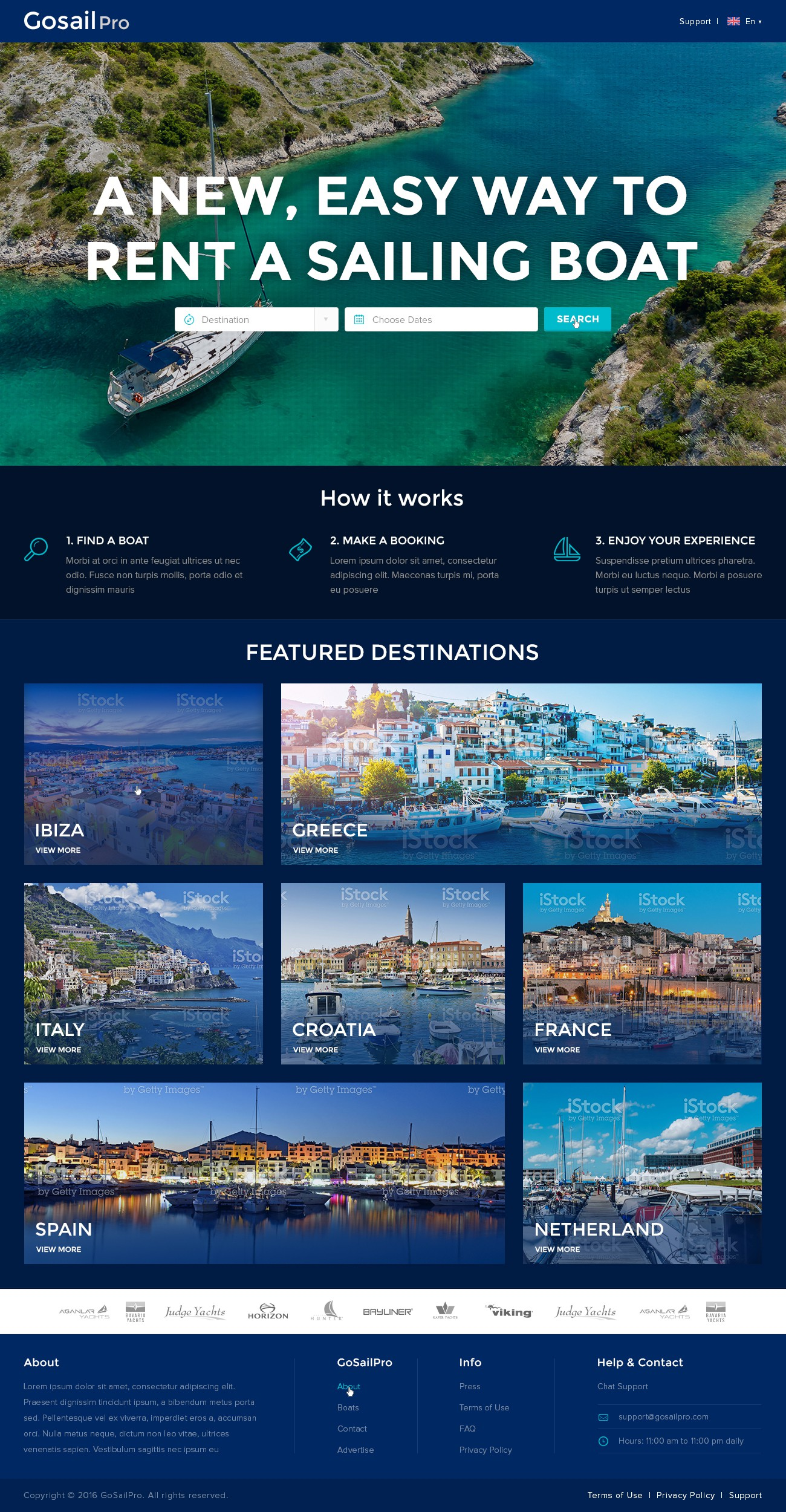 Online sailing boat booking agency looking for world class design