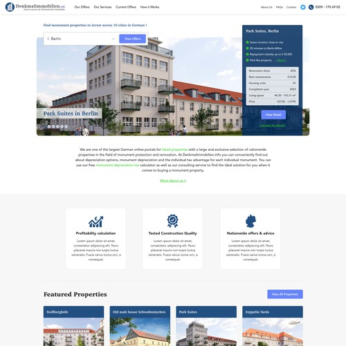 Homepage design for a German property investment firm