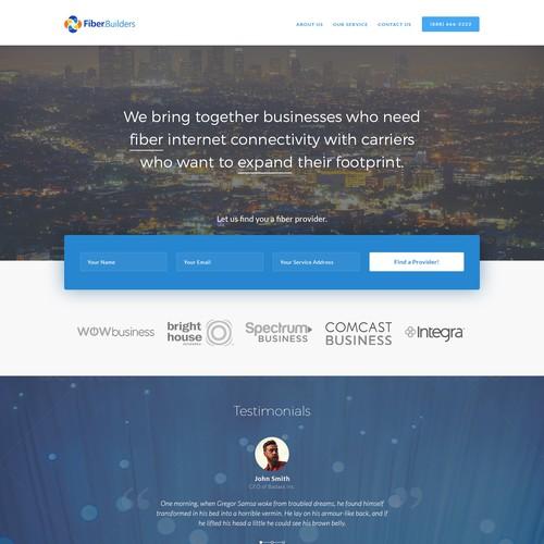A web page for a fiber internet provider
