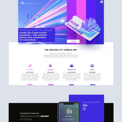 Landing page concept for a  ridesharing startup.