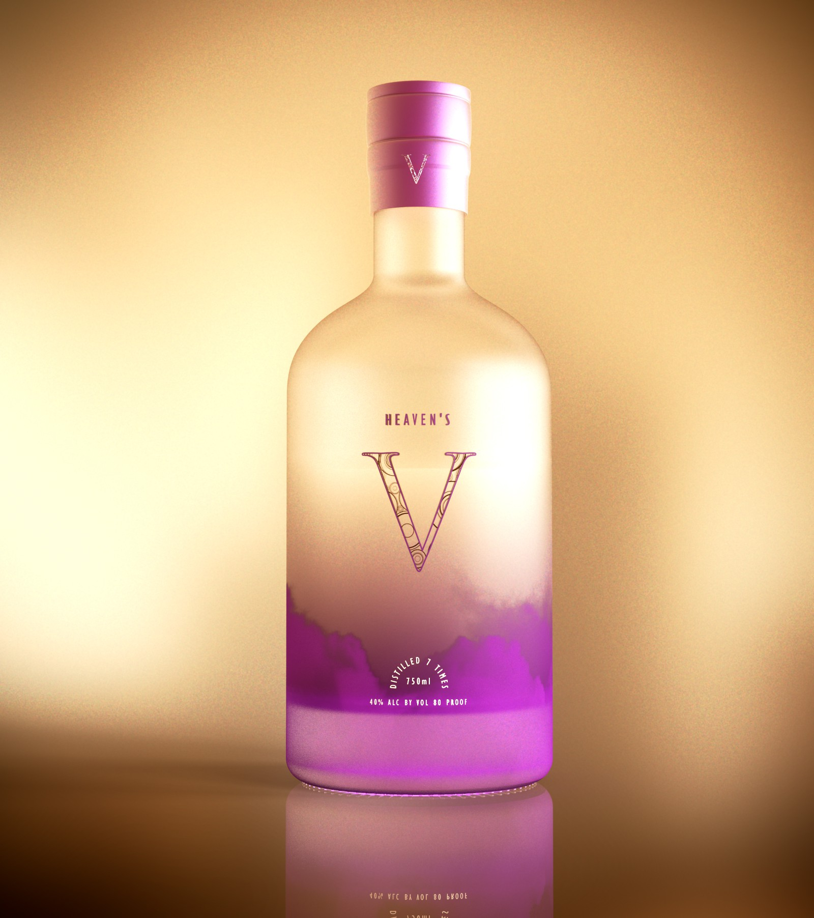 Heaven's V vodka bottle and logo design