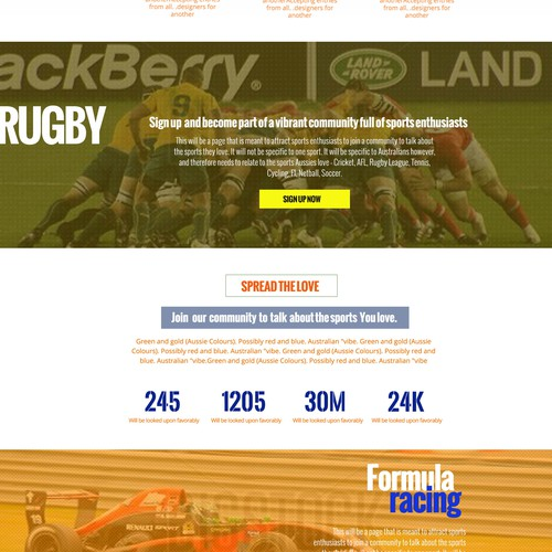 Cool sports themed landing page - full site to be designed by the winner