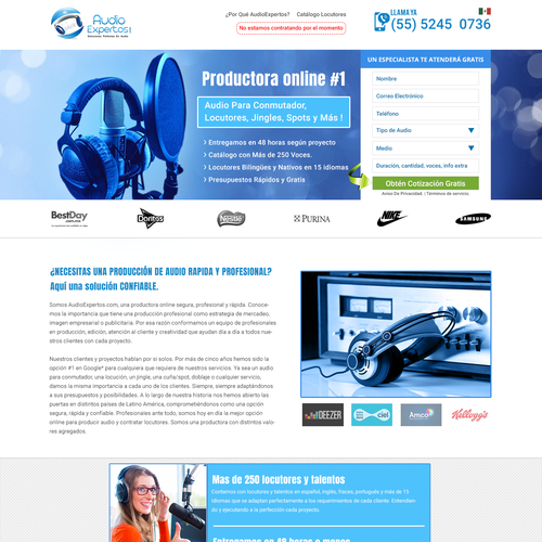 Landing Page for Audio Expertos