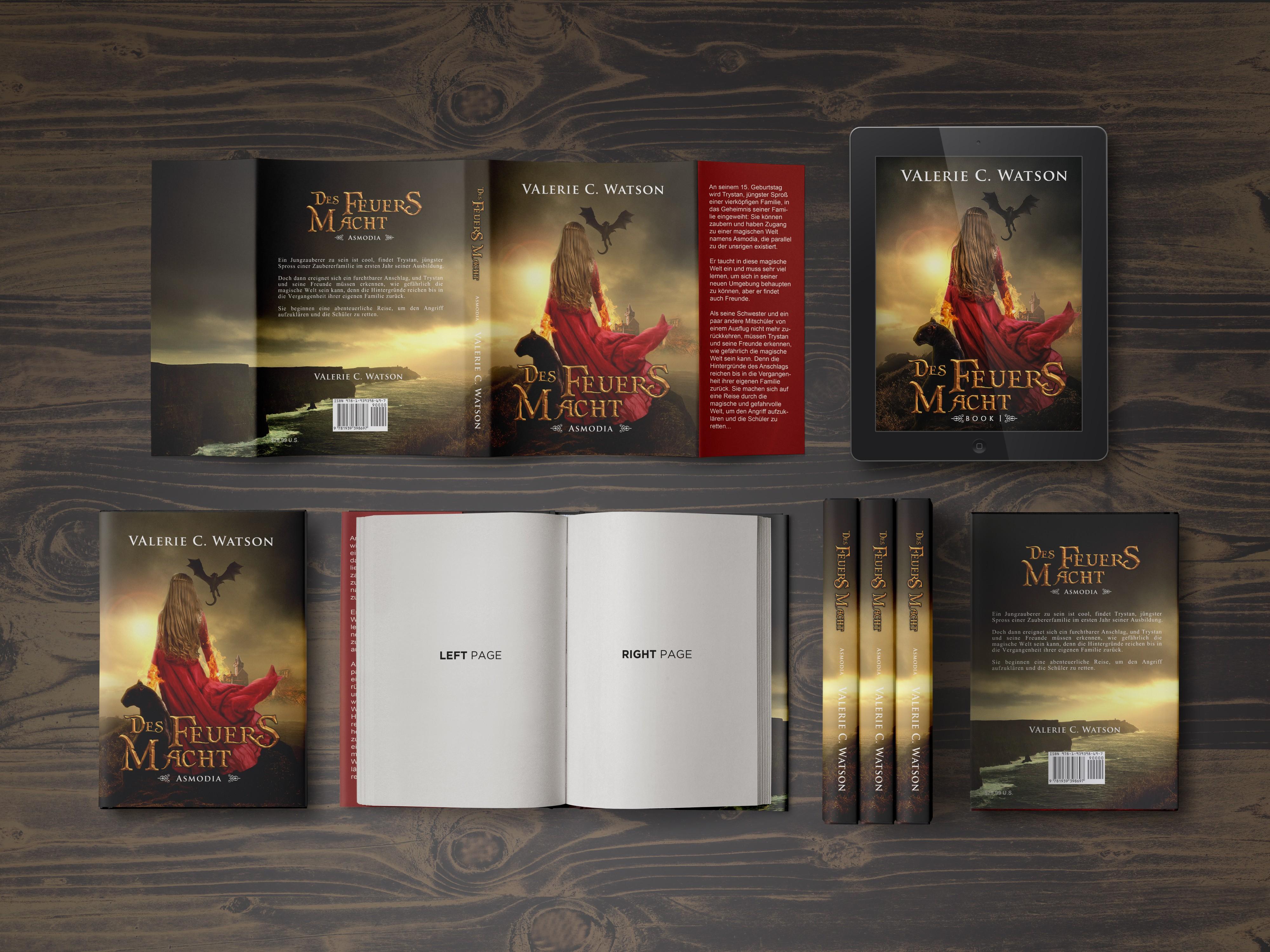 Cover für ein Fantasybuch mit dem Thema Feuer