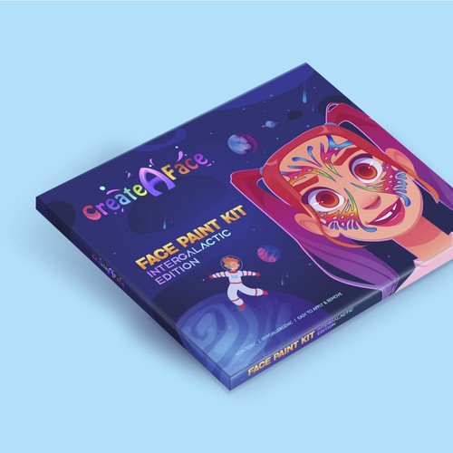 Minimalistic Thematic Box design for a face painting products brand