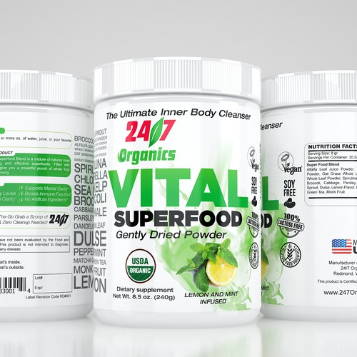 Clear, and bold design, for organic supplement label for Organic Juicing Supplement
