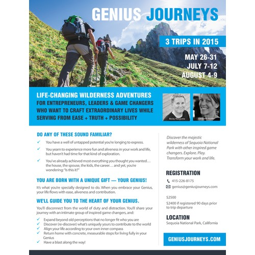 "Create a captivating flyer for Wilderness Adventures ""Genius Journeys""!"