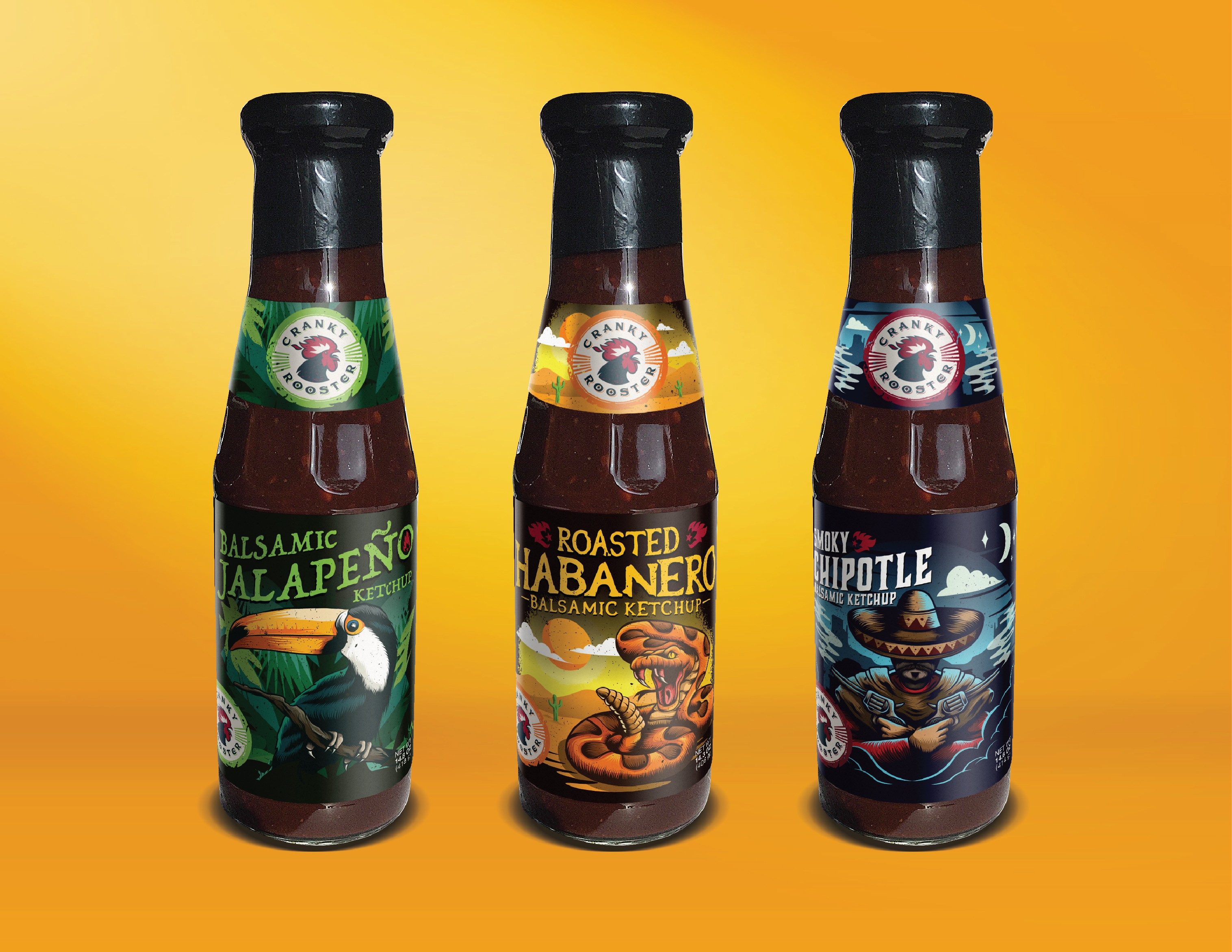 Stunning bold labels (3 different flavors) for  a gourmet hot ketchup